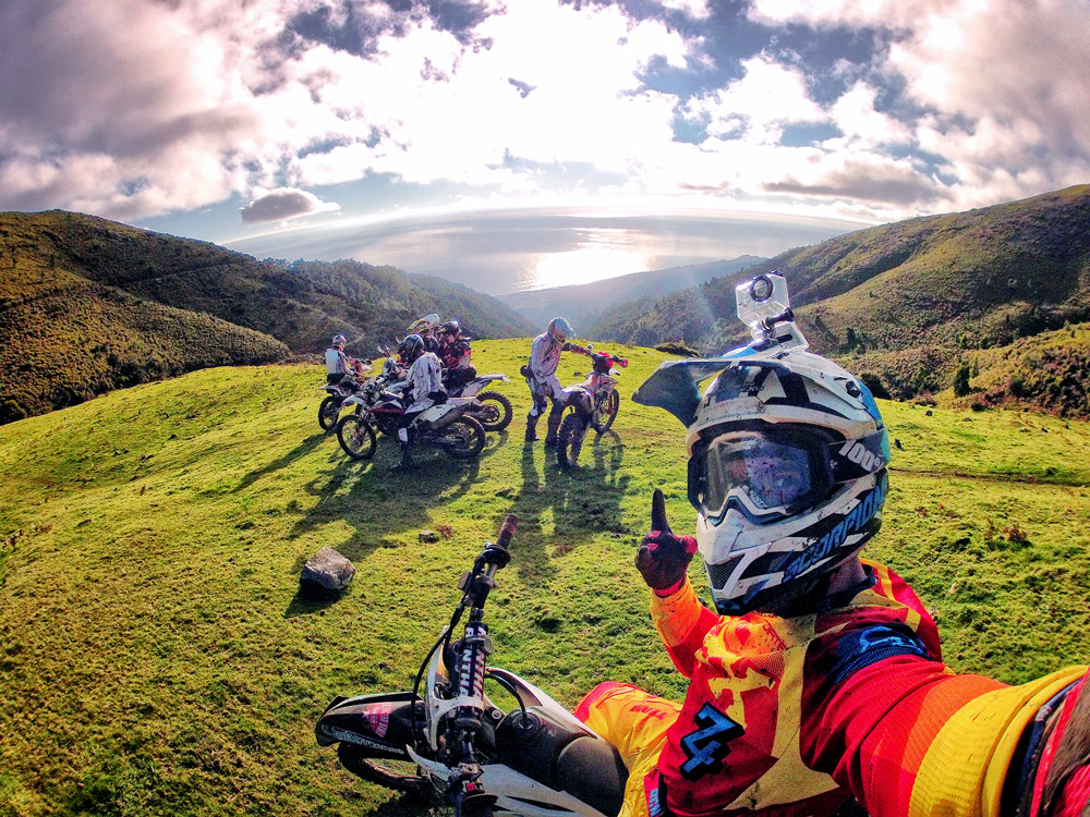 A gopro selfie of a group of riders on the mountains of Madeira Island