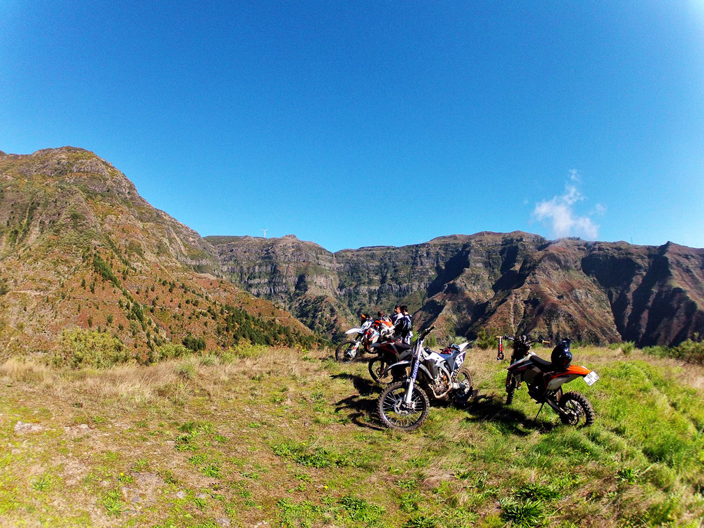 A panoramic shot of an enduro group on Madeira hills