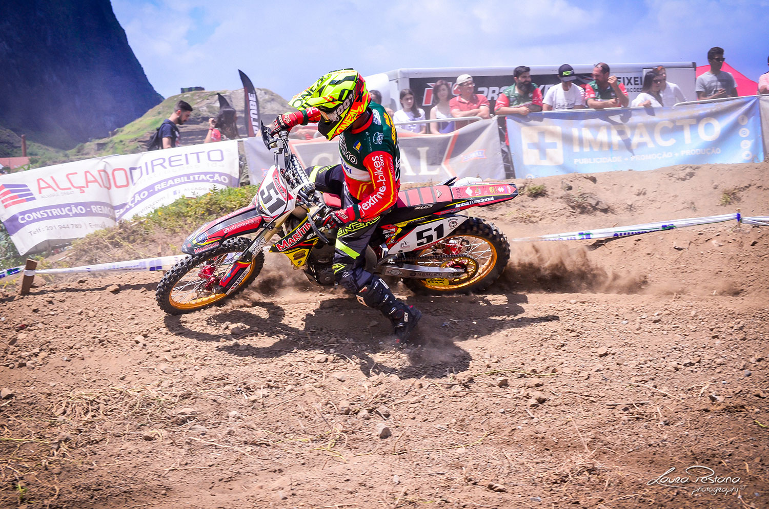 A rider making a berm on the track