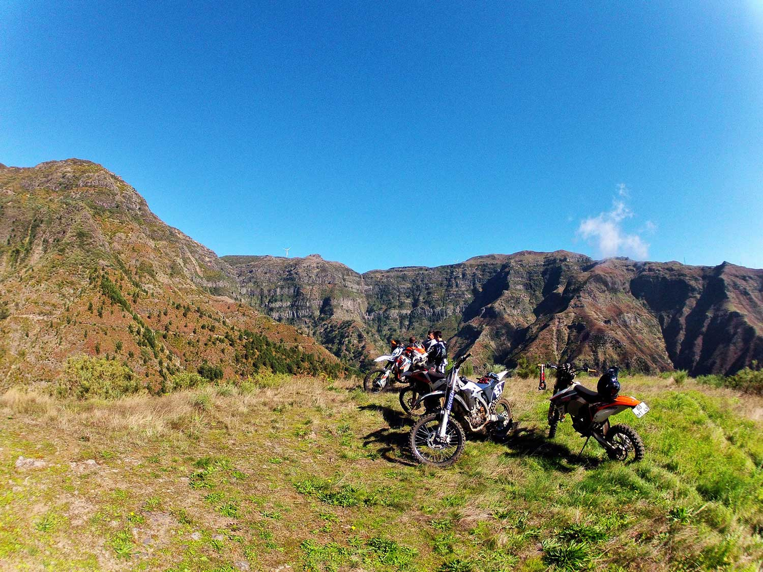 The mountains of madeira and a group of riders chilling