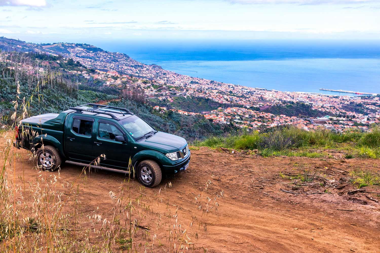 A Nissan Navara off-road in the mountains of Funchal